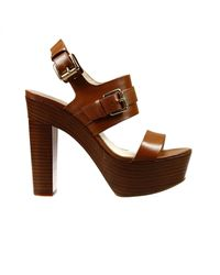 MICHAEL Michael Kors | Brown Shoes Beatrice Heel 9+2 Sandal Leather With Buckle | Lyst