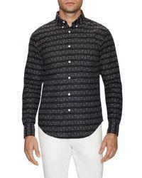 Naked & Famous - Black Geometric Print Button-down Sportshirt for Men - Lyst