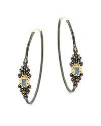 Armenta - Metallic Champagne Diamond & Gemstone Hoop Earrings - Lyst