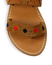 Soludos - Brown Embroidered Suede Sandals - Lyst