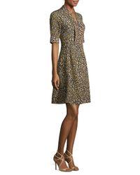 Derek Lam Brown Silk Leopard Print A-line Dress