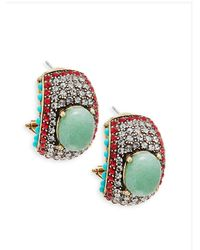 Heidi Daus - Multicolor Crystal And Turquoise Statement Earrings - Lyst