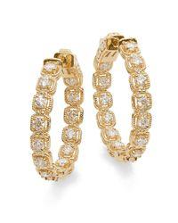 Saks Fifth Avenue - Metallic Diamond & 14k Yellow Gold Hoop Earrings - Lyst