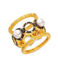 Freida Rothman - Metallic 7.5mm Pearl Crystal Triple Stack Ring - Lyst