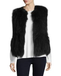 Annabelle New York - Black Woven Cotton Fur Vest - Lyst