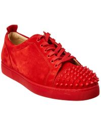 Christian Louboutin Red Suede Louis Junior Spikes Sneakers for men