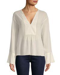 b019584db0fd1 Lyst - Theory Matara Silk Chiffon Tunic Top in White