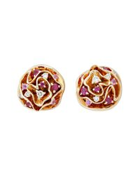 Louis Vuitton - Multicolor Louis Vuitton 18k Diamond & Gemstone Floral Earrings - Lyst