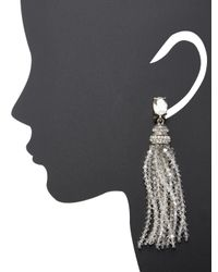 Oscar de la Renta - Metallic Crystal Tassel Earrings - Lyst