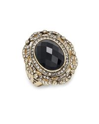 Saks Fifth Avenue   Black Glass & Goldtone Metal Ring   Lyst