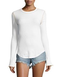 Free People - White Zip It Cuff Sweater - Lyst