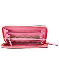 Kate Spade - Pink Cedar Street Lacey Leather Wallet - Lyst