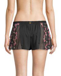 For Love & Lemons - Black Hibiscus Sleep Shorts - Lyst