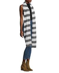 White + Warren - Gray Mixed Stripe Scarf - Lyst