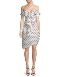 Kendall + Kylie - White Pinstriped Wrap Dress - Lyst