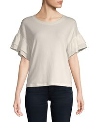 Saks Fifth Avenue - White Ruffle Short-sleeve Top - Lyst