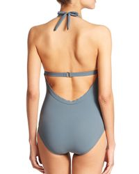 Karla Colletto - Gray One-piece Halter Swimsuit - Lyst