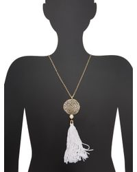 Ettika Jewelry - White Organic Punched Out Disc & Tassel Statement Necklace - Lyst