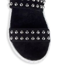 Steven by Steve Madden - Black Leather Studded Flat Sandals - Lyst