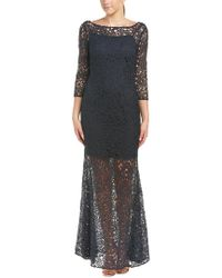 Kay Unger - Blue Three-quarter Sleeve Lace Sheer Gown - Lyst