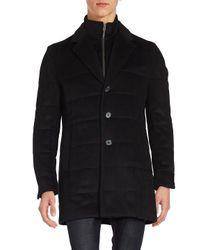 Saks Fifth Avenue - Black Quilted Wool-blend Coat for Men - Lyst