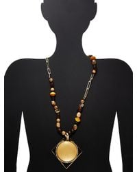 Alexis Bittar - Metallic Lucite Beaded Strand Geometric Pendant Necklace - Lyst