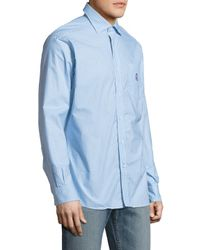 Psycho Bunny - Blue Printed Cotton Sportshirt for Men - Lyst
