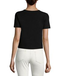 Saks Fifth Avenue - White Cropped Tee - Lyst