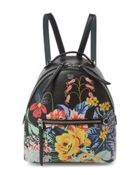 Fendi - Black Floral Leather Mini Backpack - Lyst
