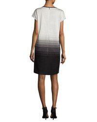 St. John - Black Optic Dot Jacquard Shift Dress - Lyst