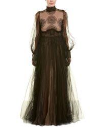 Valentino - Black Garavani Tulle Silk Gown - Lyst