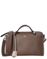 72a6777cbaef Lyst - Fendi By The Way Small Leather Boston Bag in Brown