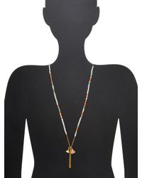 Chan Luu - Metallic Stone & Textured Bar Pendant Necklace - Lyst