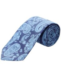 Ike Behar - Blue Navy Paisley Silk Tie for Men - Lyst