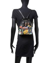 Fendi - Black Floral Leather Mini Backpack - Lyst