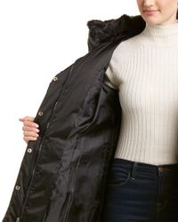 Tahari Black Sia Fitted Puffer Coat