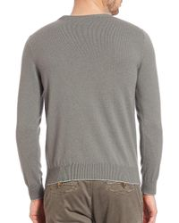 Eleventy | White Washed Cashmere Raglan Pullover for Men | Lyst