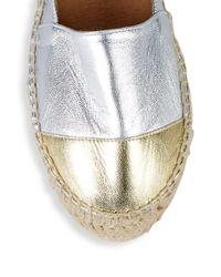 Pure Navy - Metallic Leather Flatform Espadrilles - Lyst