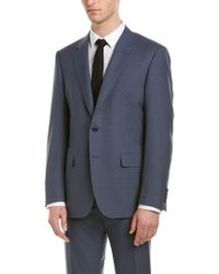 Canali Blue 2pc Wool Suit With Flat Front Pant for men