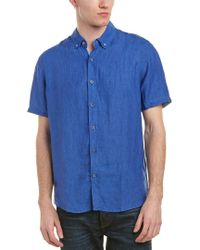 Report Blue Collection Enzyme Washed Linen Woven Shirt for men