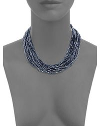Saks Fifth Avenue - Blue Silvertone Multi-strand Faceted Bead Necklace - Lyst