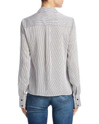 Alice + Olivia - Black Willa Stripe Button-down Shirt - Lyst