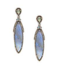 Bavna | Metallic Labradorite & Pave Diamond Drop Earrings | Lyst