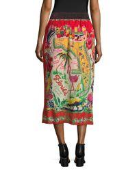 Anna Sui - Multicolor Florida Land Of Sunshine Midi Skirt - Lyst