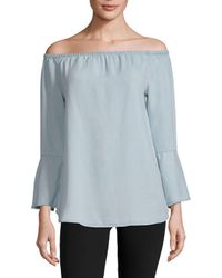 Beach Lunch Lounge - Blue Off-the-shoulder Denim Blouse - Lyst