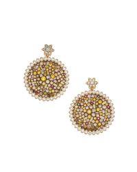 Plevé | Diamond & 18k Yellow Gold Sunflower Earrings | Lyst