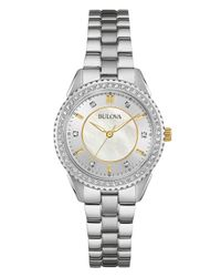 Bulova | Metallic Women's Stainless Steel Bracelet Watch 30mm 98l223 | Lyst