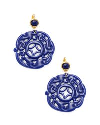 Kenneth Jay Lane - Blue Lapis Carved Drop Wire Statement Earrings - Lyst
