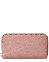 Fendi - Pink Leather Zip Around Wallet - Lyst