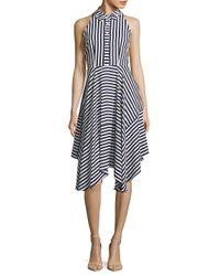 Donna Ricco - Blue Stripe Buttoned Sleeveless Dress - Lyst